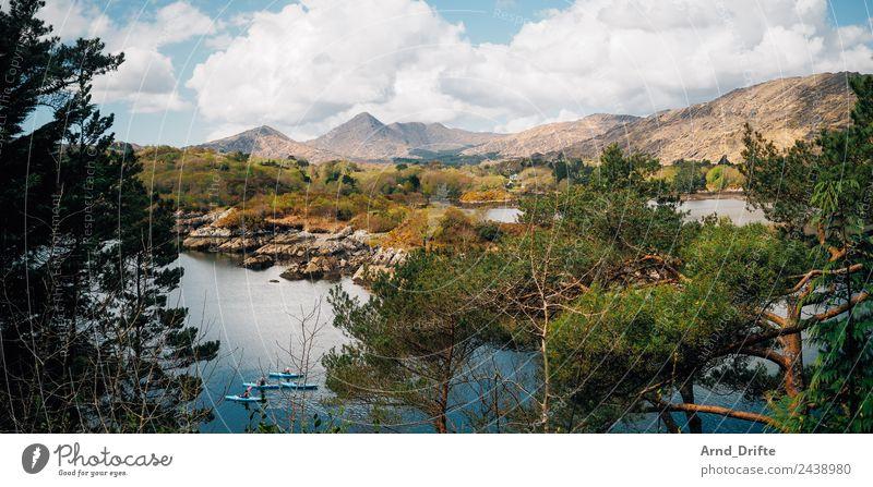 Bucht von Garinish Island Ferien & Urlaub & Reisen Ausflug Abenteuer Sommer Sommerurlaub Paddeln Kanu Kajak 3 Mensch Natur Landschaft Himmel Wolken Frühling
