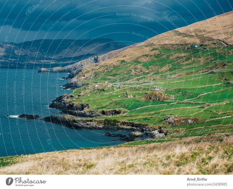 Küste Irland Ferien & Urlaub & Reisen Tourismus Ausflug Abenteuer Freiheit Sightseeing Natur Landschaft Himmel Wolken schlechtes Wetter Regen Wiese Feld Hügel