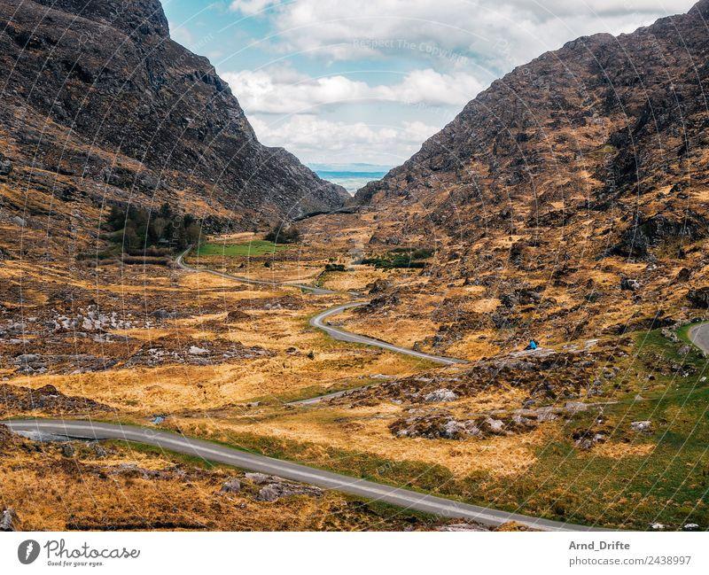 Irland - Gap of Dunloe Ferien & Urlaub & Reisen Tourismus Ausflug Ferne Freiheit Sightseeing Natur Landschaft Himmel Wolken Frühling Sommer Schönes Wetter