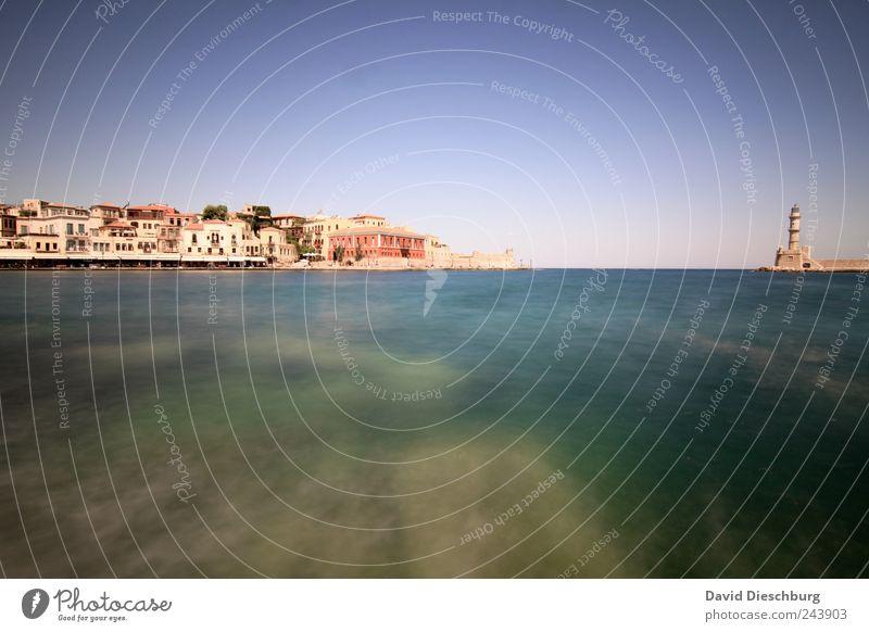 Chania blau Ferien & Urlaub & Reisen weiß Meer Hafen Skyline türkis Sommerurlaub Leuchtturm Mittelmeer Wolkenloser Himmel Blauer Himmel mediterran Hafenstadt
