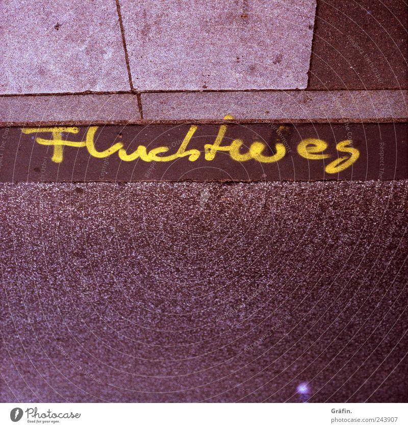 Fluchtweg gelb Straße Graffiti grau braun Schilder & Markierungen Beton Schriftzeichen Asphalt Bürgersteig Fußweg Rettung Hinweis achtsam Wege & Pfade