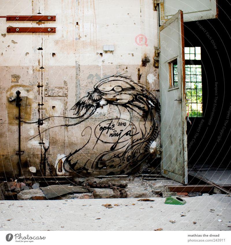 LE MONSTRE Menschenleer Haus Industrieanlage Fabrik Ruine Bauwerk Gebäude Architektur Mauer Wand Fenster Tür Zeichen Graffiti Aggression alt außergewöhnlich