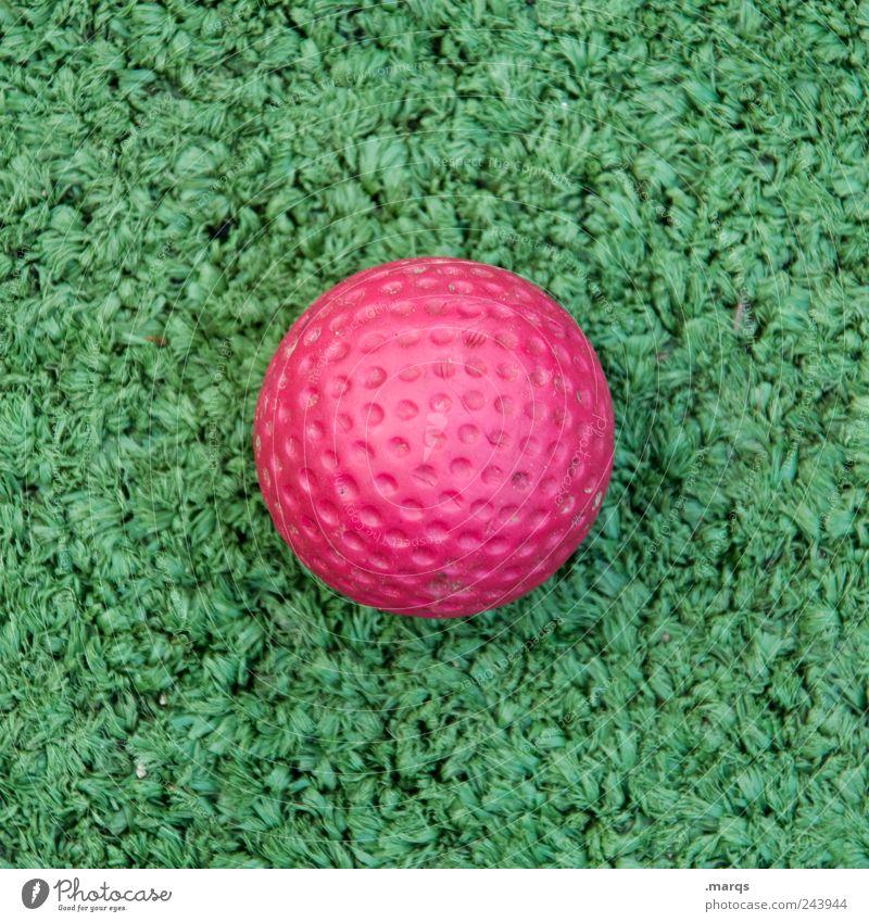 Golf Freude Freizeit & Hobby Spielen Minigolf Sport Ball Kunststoff Zeichen rund grün rosa Farbe Golfball Kunstrasen Farbfoto Außenaufnahme Detailaufnahme