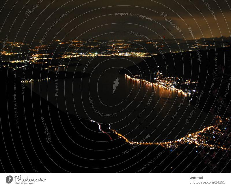 Rigi-Blick Berge u. Gebirge See Beleuchtung Nachtaufnahme Vogelschau