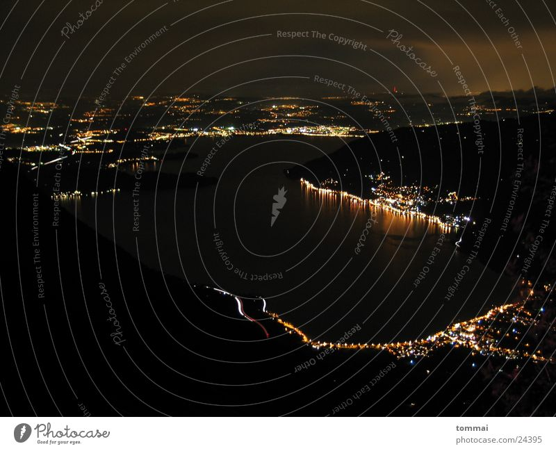 Rigi-Blick Berge u. Gebirge See Beleuchtung Nachtaufnahme Rigi Vogelschau