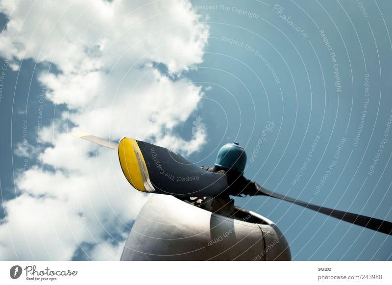 Propellerhead Luftverkehr Umwelt Himmel Wolken Flugzeug Propellerflugzeug drehen fliegen blau Triebwerke rotieren Farbfoto mehrfarbig Außenaufnahme Nahaufnahme
