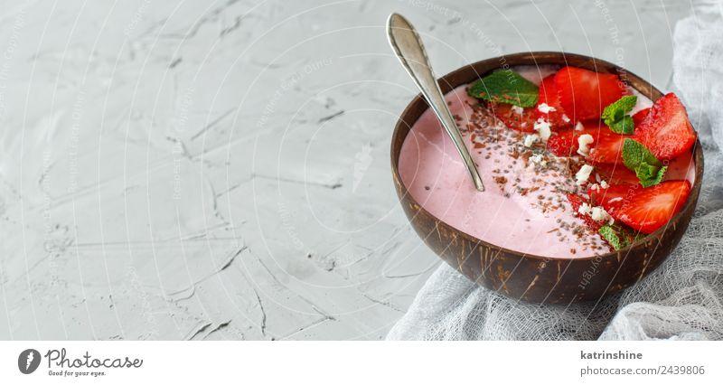 Erdbeer-Smoothie-Schale Joghurt Frucht Dessert Ernährung Frühstück Vegetarische Ernährung Diät Schalen & Schüsseln Löffel Sommer frisch grau grün rosa rot weiß