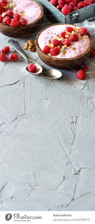 Himbeeren Smoothie Schüsseln Joghurt Frucht Dessert Ernährung Frühstück Vegetarische Ernährung Diät Schalen & Schüsseln Löffel Sommer frisch rosa rot weiß