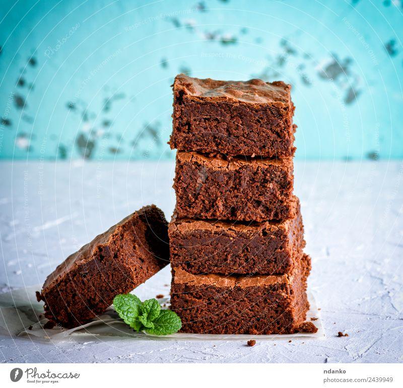gebackene Brownie-Pastete Kuchen Dessert Süßwaren Ernährung Blatt Essen dunkel frisch lecker weich braun weiß Brownies Schokolade Stapel Hintergrund gebastelt