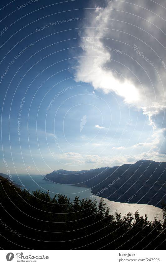 Regen, Baby Natur Landschaft Pflanze Luft Wasser Himmel Wolken Gewitterwolken Sonne Sonnenlicht Klima Unwetter Sträucher See Angst ästhetisch Gardasee Südtirol
