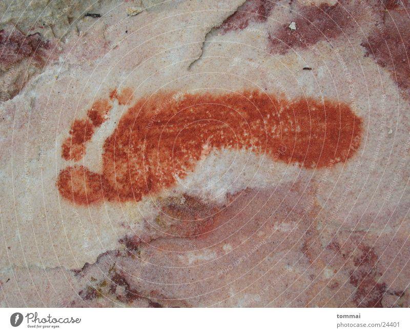 Fussspuren Mensch rot Fuß Sand Spuren Fußspur rechts