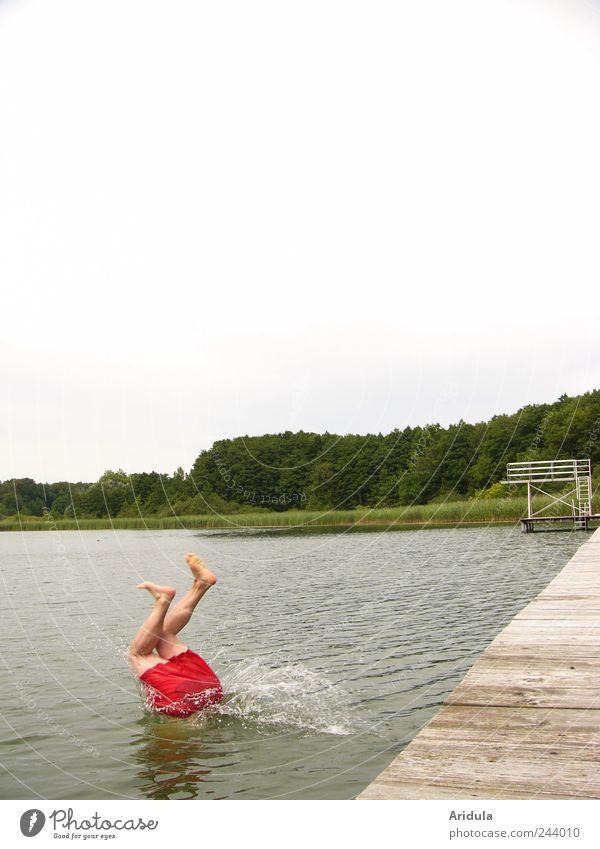 Kopfüber Freude Leben Schwimmen & Baden Ferien & Urlaub & Reisen Ausflug Sommer Sommerurlaub Mensch maskulin Mann Erwachsene Beine Fuß Landschaft Wasser Himmel