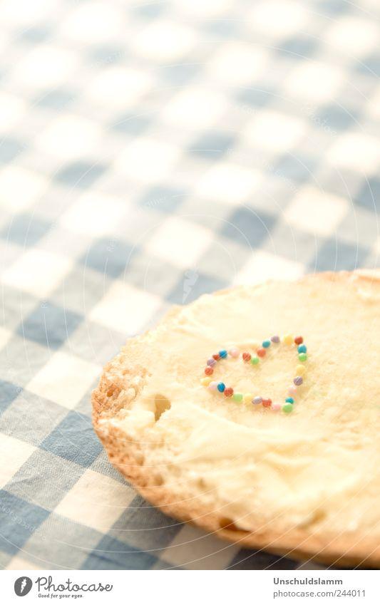 Herzhaft Lebensmittel Brot Butter Ernährung Frühstück Abendessen Slowfood Stil Wohlgefühl Dekoration & Verzierung Küche genießen frisch hell lecker blau
