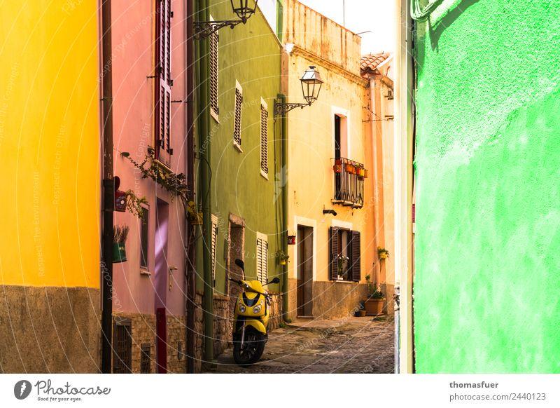 Bosa, bunte Gasse Ferien & Urlaub & Reisen Ferne Städtereise Sommer Häusliches Leben Haus Schönes Wetter Italien Sardinien Kleinstadt Stadtzentrum Altstadt