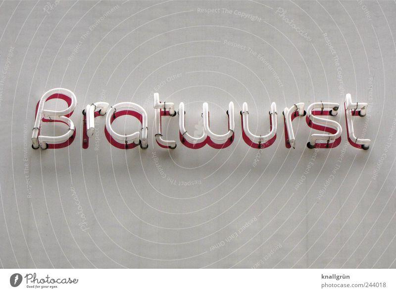 Bratwurst weiß rot Ernährung Wand Lebensmittel Mauer Fassade Schilder & Markierungen Schriftzeichen leuchten Kommunizieren Werbung lecker Lebensfreude