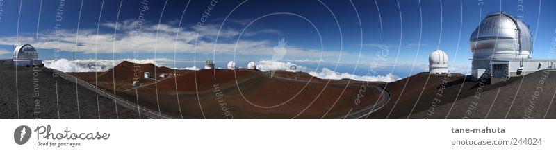 Observatorien auf dem Mauna Kea (Big Island, Hawaii) - Panorama Himmel Natur blau weiß Ferien & Urlaub & Reisen Berge u. Gebirge Architektur braun Horizont