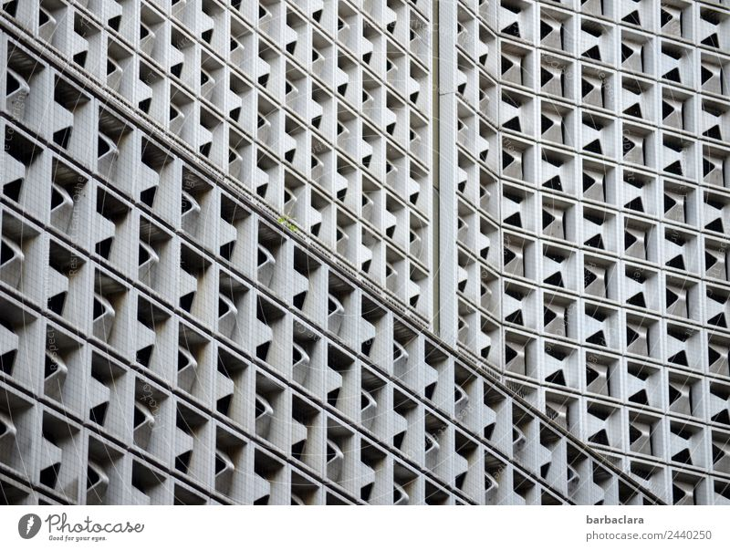 komplex | Stuttgarter Ansichten Stadt Stadtzentrum Hochhaus Architektur Mauer Wand Fassade Metall Stahl modern viele grau ästhetisch Design Stil Schwarzweißfoto