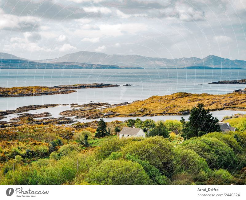 Irland - Sky Road Himmel Ferien & Urlaub & Reisen Natur Sommer Wasser Landschaft Baum Meer Haus Wolken Einsamkeit Ferne Berge u. Gebirge Frühling Wiese Küste
