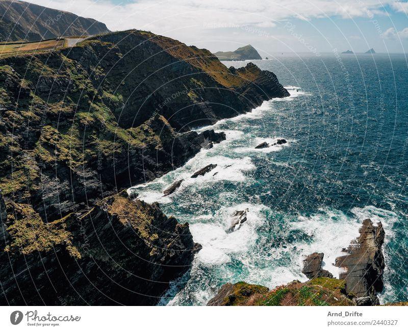 Irland - Kerry Cliffs Ferien & Urlaub & Reisen Tourismus Ausflug Abenteuer Ferne Freiheit Sightseeing Meer Wellen Natur Landschaft Himmel Wolken Schönes Wetter