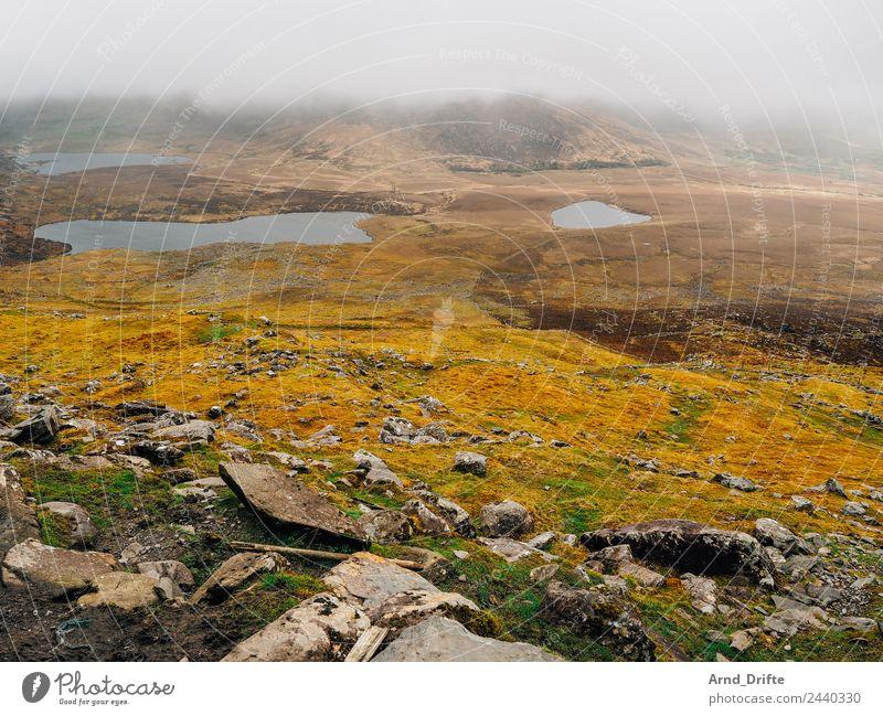 Connor Pass - Irland Ferien & Urlaub & Reisen Ausflug Abenteuer Natur Landschaft Pflanze Wolken schlechtes Wetter Nebel Hügel Felsen Berge u. Gebirge See Tal