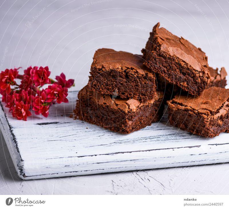 gebackene Brownie-Pastete Dessert Süßwaren Ernährung Essen dunkel frisch lecker weich braun Brownies Schokolade Kuchen Stapel Hintergrund gebastelt süß