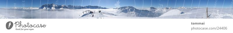 360° Panorama Himmel blau Ferne Winter Berge u. Gebirge Schnee Wetter Nebel groß Schönes Wetter Schneebedeckte Gipfel Panorama (Bildformat) Skigebiet Schneelandschaft Skilift Wintertag