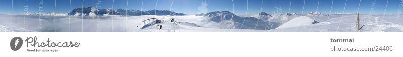 360° Panorama Himmel blau Ferne Winter Berge u. Gebirge Schnee Wetter Nebel groß Schönes Wetter Schneebedeckte Gipfel Panorama (Bildformat) Skigebiet