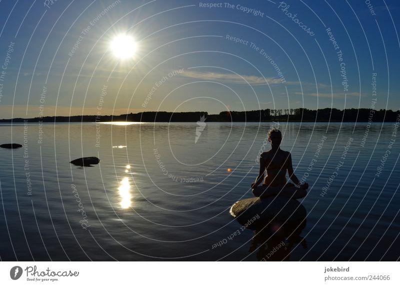 spiegelnde Ruhe Mensch Himmel Jugendliche Wasser blau Sonne Sommer ruhig Erholung feminin Sport Freiheit Glück See Zufriedenheit gold