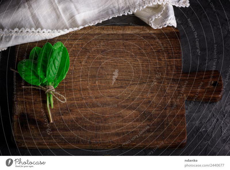 altes altes Küchenschneidebrett Kräuter & Gewürze Tisch Natur Pflanze Blatt Holz frisch natürlich oben braun grün schwarz Hintergrund Holzplatte Haufen leer