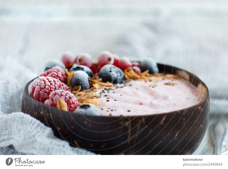Waldfrüchte Smoothie-Schale Joghurt Frucht Dessert Ernährung Frühstück Vegetarische Ernährung Diät Schalen & Schüsseln Löffel Sommer frisch rosa rot weiß