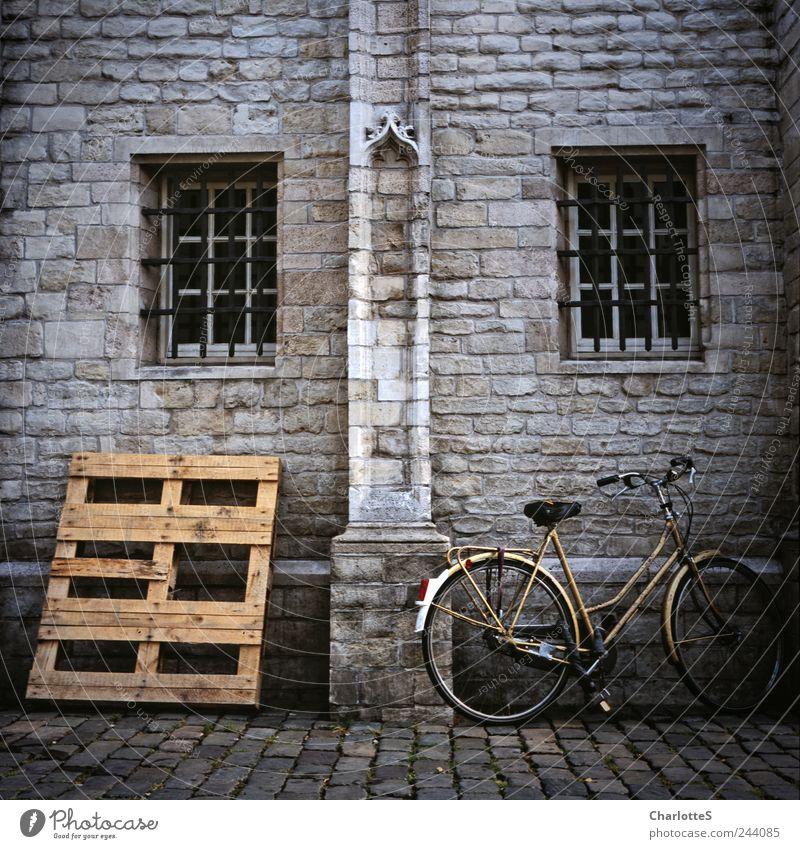 Alles Palette dunkel Holz grau Stein Fahrrad gold Gold ästhetisch Vergänglichkeit Filmmaterial Backstein historisch analog Verfall Kopfsteinpflaster parken