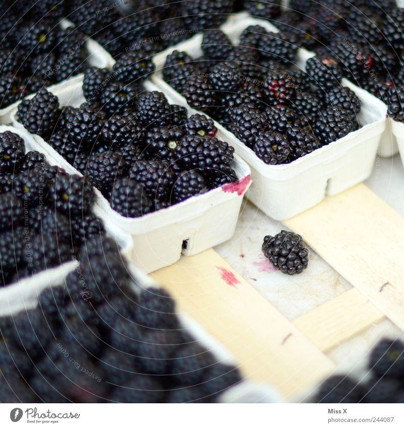 Brombeeren schwarz Ernährung Lebensmittel Frucht frisch süß lecker Bioprodukte saftig Vegetarische Ernährung Wochenmarkt Gemüsemarkt Obstladen Obstschale