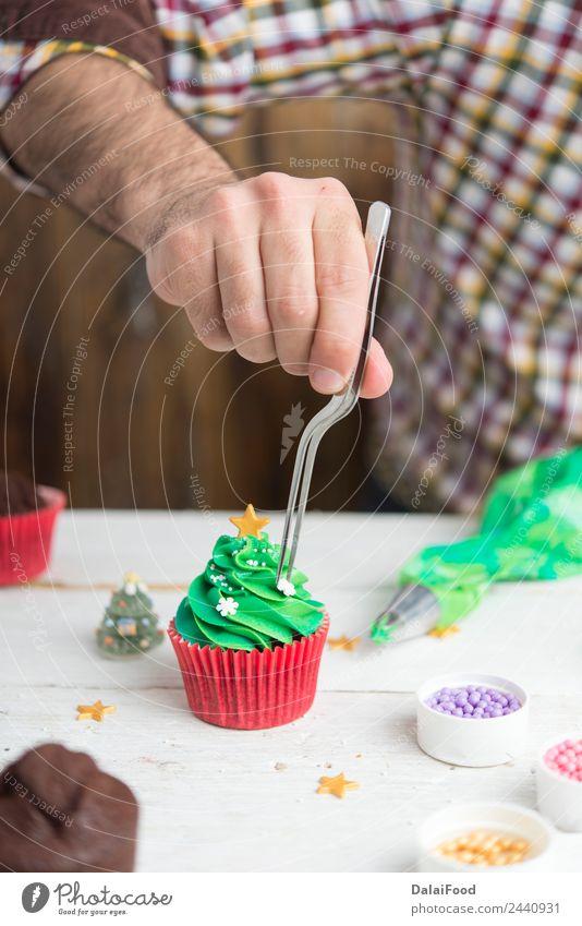 Muffin Weihnachtsbaum Dessert Glück Winter Schnee Dekoration & Verzierung Feste & Feiern Weihnachten & Advent Baum lecker neu niedlich grün rot weiß Hintergrund