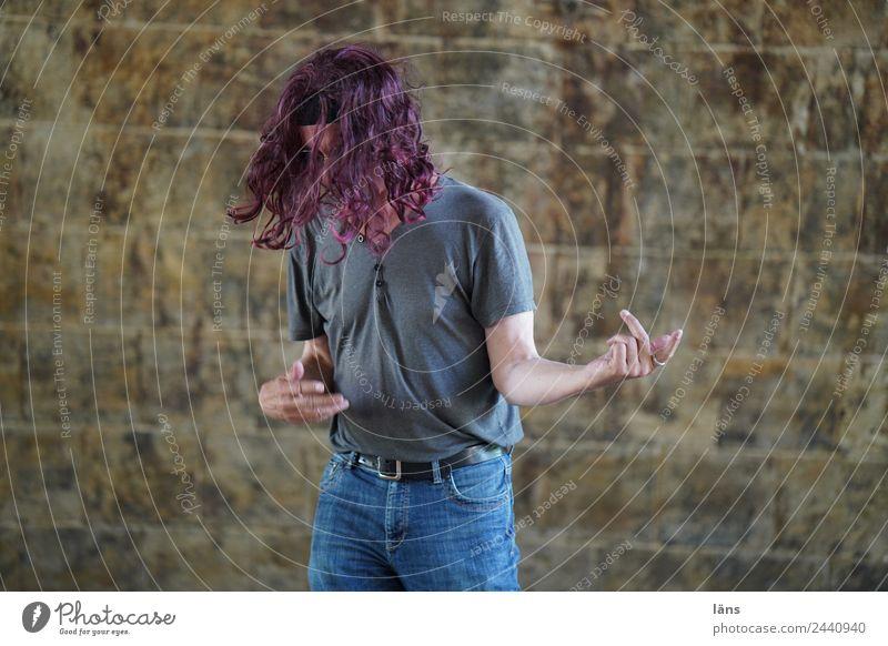 Luftgitarre 2 Freude Musik Feste & Feiern Mensch maskulin Mann Erwachsene Leben 1 Gitarre T-Shirt Jeanshose Haare & Frisuren langhaarig Locken Bewegung Coolness