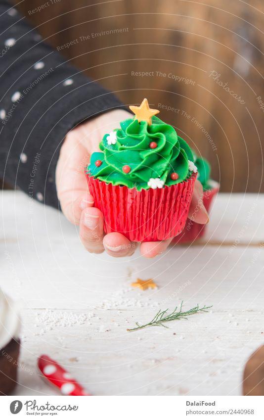 Muffin Weihnachtsbaum Dessert Winter Dekoration & Verzierung Feste & Feiern Weihnachten & Advent Baum hell grün weiß Farbe Hintergrund backen Kuchen farbenfroh