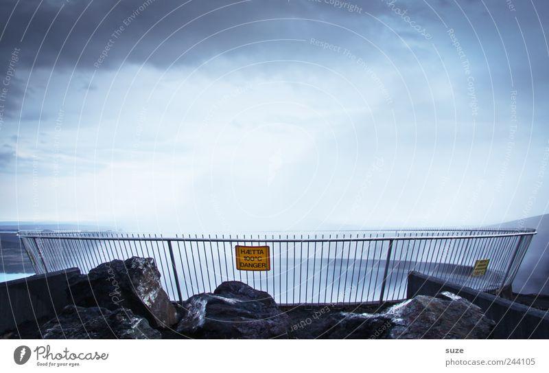 Höllenwasser Umwelt Natur Landschaft Urelemente Wasser Wolken Klima Felsen Hinweisschild Warnschild Rauch außergewöhnlich heiß blau Island Geothermalgebiet