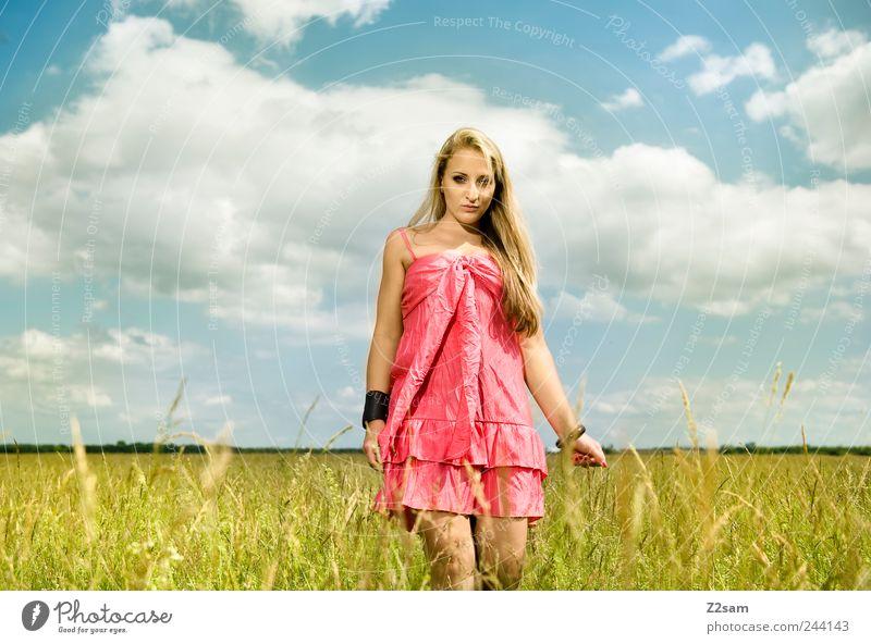sunshine Lifestyle elegant Erholung feminin Junge Frau Jugendliche Natur Himmel Sommer Wiese Kleid Schmuck blond langhaarig berühren genießen Lächeln ästhetisch