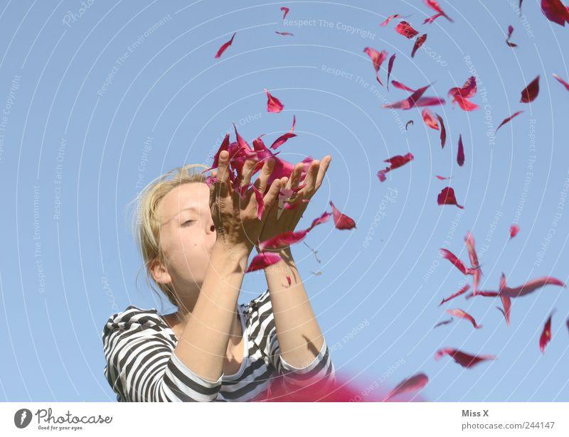 Wegpusten Mensch Junge Frau Jugendliche 1 18-30 Jahre Erwachsene Himmel Frühling Sommer Schönes Wetter Blüte Fröhlichkeit schön rosa Gefühle Freude Glück
