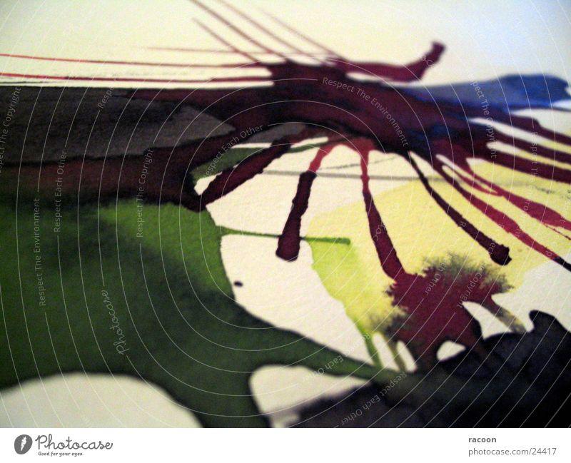 Aquarell-Zeichnung grün rot gelb streichen Handwerk zeichnen Gemälde Verlauf Zeichnung abstrakt