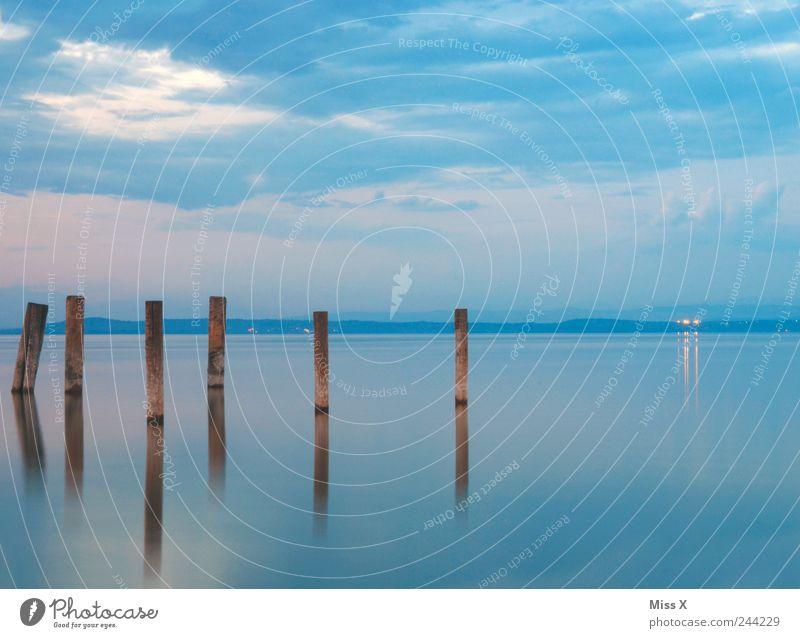 6 Landschaft Wasser Himmel Sonnenaufgang Sonnenuntergang Küste Seeufer Flussufer Meer Idylle ruhig Holzpfahl Anlegestelle Reflexion & Spiegelung