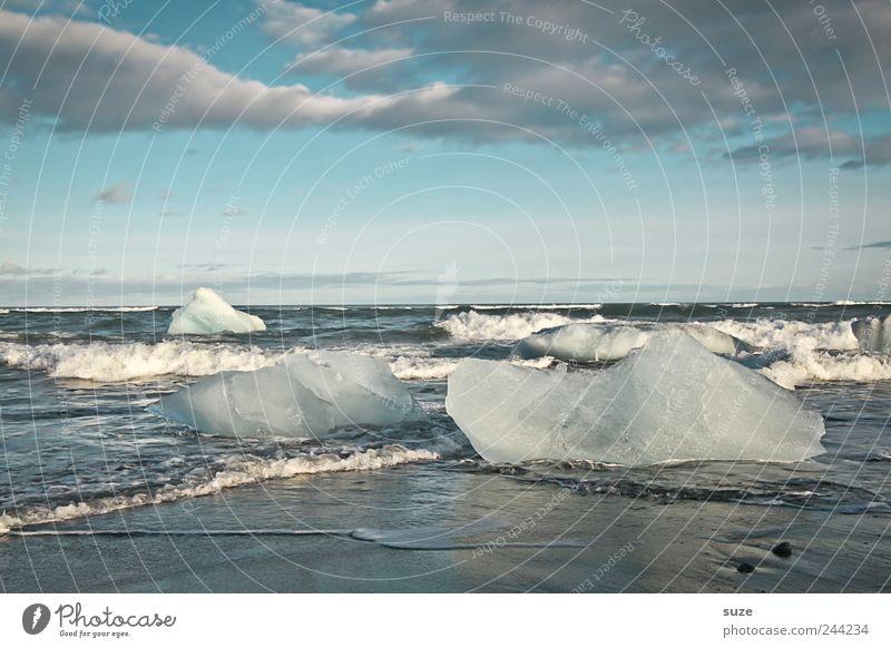 Iceland Ferien & Urlaub & Reisen Strand Meer Wellen Umwelt Natur Landschaft Urelemente Wasser Himmel Horizont Klima Klimawandel Eis Frost Küste kalt schwarz