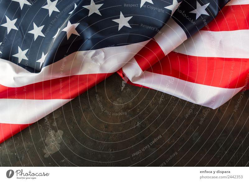 amerikanische Flagge Freiheit Wind Streifen Fahne blau rot weiß Selbstständigkeit Amerikaner Hintergrund Land Demokratie Juli Nation national Patriotin