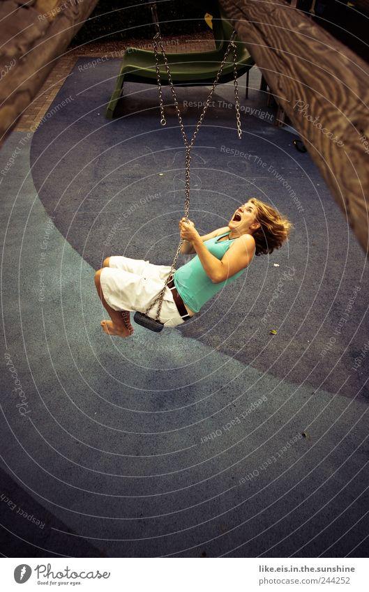 woooooooohoooow Leben Wohlgefühl Sinnesorgane Freizeit & Hobby Spielen Junge Frau Jugendliche Erwachsene 1 Mensch 18-30 Jahre Sonnenlicht Sommer Schönes Wetter