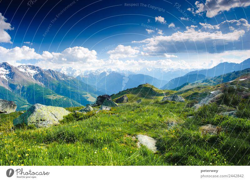 mountain panorama from fiescheralp and bettmeralp Ausflug Sommer Natur Wolken Moos Wiese Alpen Berge u. Gebirge wandern blau grün weiß Freude Aletschgletscher