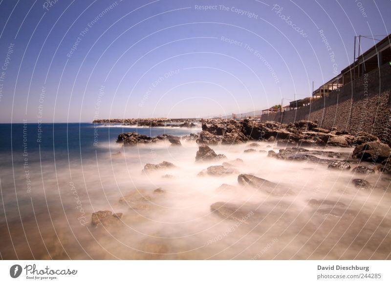 Küste von Rethimnon Ferien & Urlaub & Reisen Ferne Sommerurlaub Meer Natur Landschaft Wasser Wolkenloser Himmel Schönes Wetter Bucht blau braun weiß Kreta