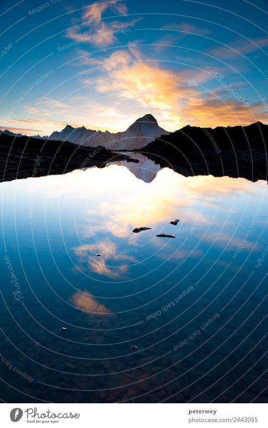Bietschorn mountain peak at sunrise, Switzerland Natur Ferien & Urlaub & Reisen Sommer Stimmung Schweiz alpin Kanton Wallis Lötschental