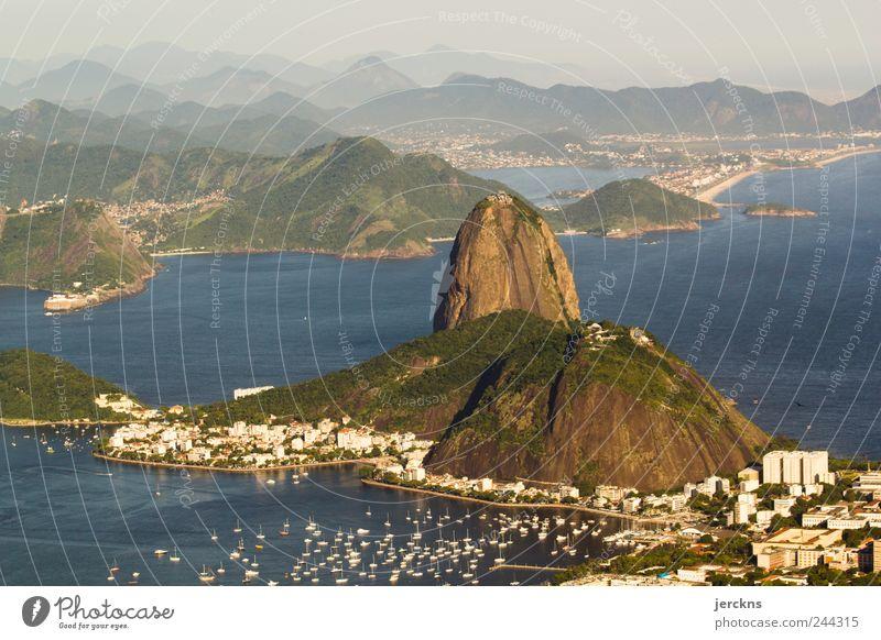 Natur Wasser Ferien & Urlaub & Reisen Berge u. Gebirge Landschaft Bucht Verzweiflung Brasilien Wahrzeichen Hauptstadt Sehenswürdigkeit Rio de Janeiro Zuckerhut (Felsen) Guanabara