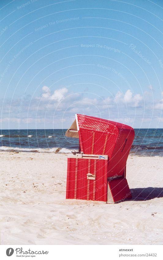Strandkorb Himmel Meer Sommer Ferien & Urlaub & Reisen Erholung Europa Ostsee Sandstrand