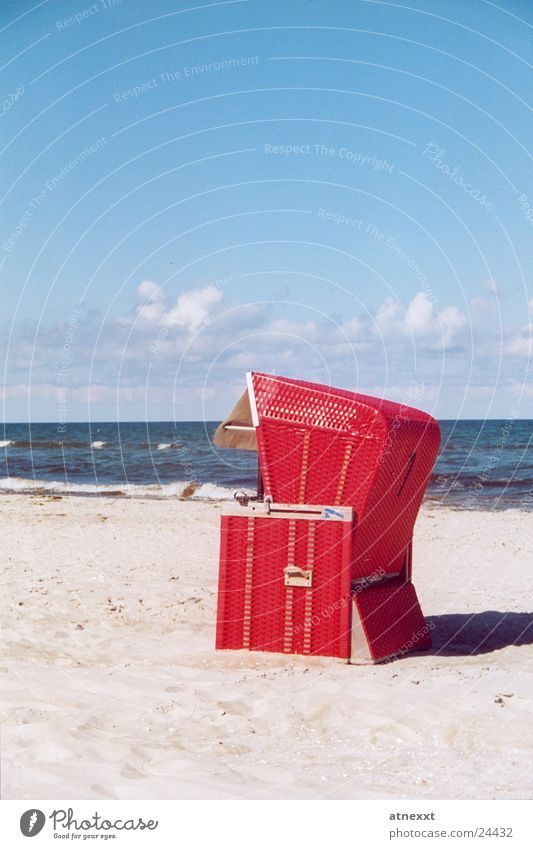 Strandkorb Meer Ferien & Urlaub & Reisen Sommer Sandstrand Europa Ostsee Himmel Erholung