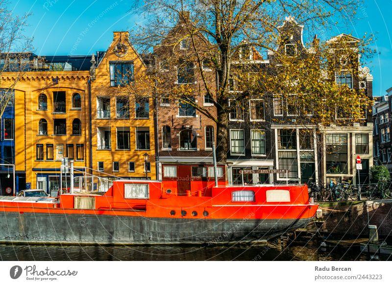 Schöne Architektur niederländischer Häuser am Amsterdamer Kanal Stil schön Ferien & Urlaub & Reisen Tourismus Sommer Häusliches Leben Haus Hausbau Landschaft